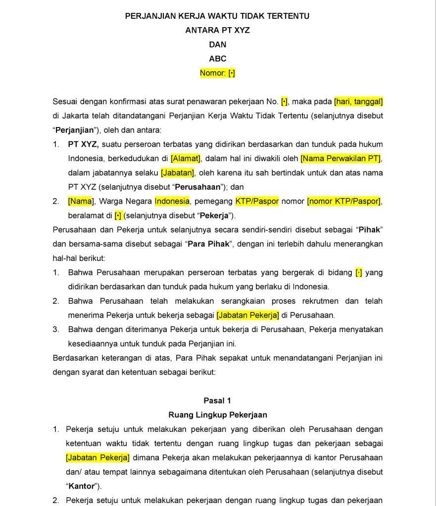 Contoh Draft PKWTT Libera