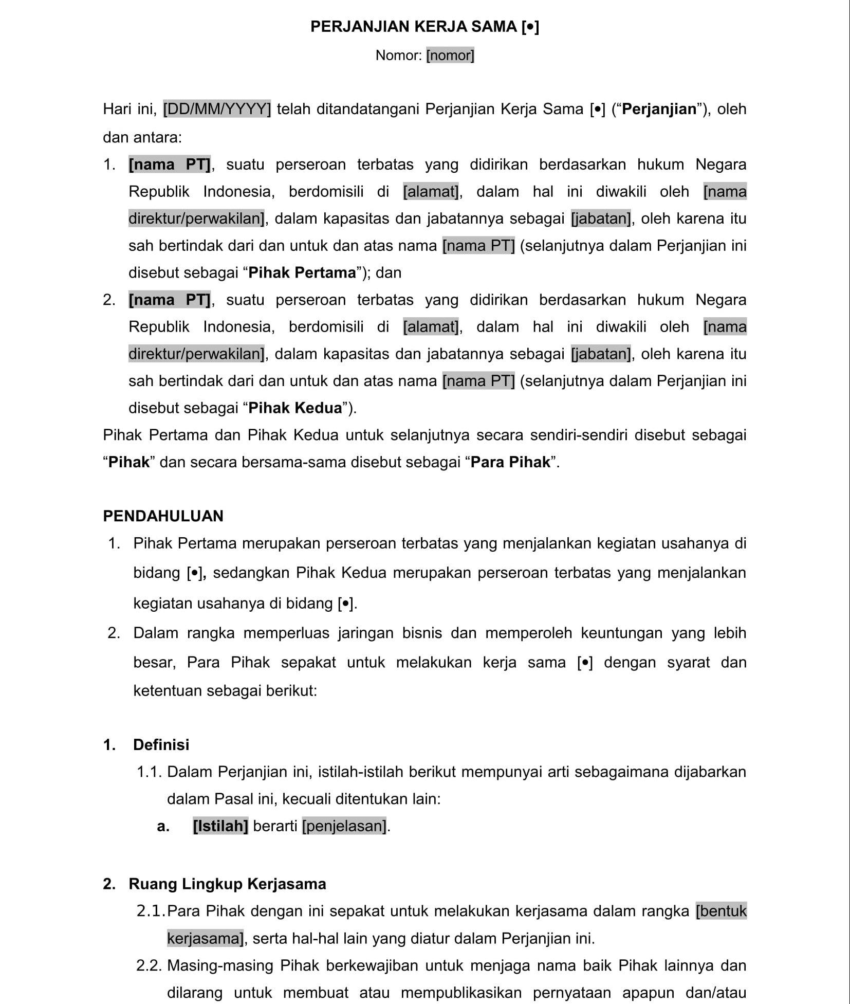 Contoh Cara Pembuatan Kontrak Yang Benar Menurut Hukum