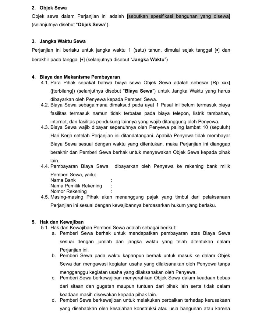 Contoh Surat Negosiasi: Perjanjian Sewa Menyewa Kantor Modern Untuk Startup